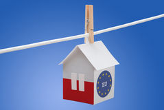 Poland, polish and EU flag on paper house. Concept - poland, polish and EU flag painted on a paper house hanging on a rope Stock Photos