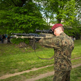 POLAND - Polish soldier during demonstration of the military and rescue equipment Royalty Free Stock Photo