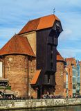 Old port crane in Gdansk, Poland Royalty Free Stock Images