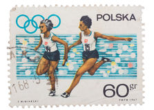 Poland - about 1967: post stamp printed in  shows Olympics Stock Photography