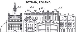 Poland, Poznan architecture line skyline illustration. Linear vector cityscape with famous landmarks, city sights stock illustration