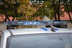 Poland, Poznan -October 1, 2016. Policja - sign Polish police on the car. Stock Photos