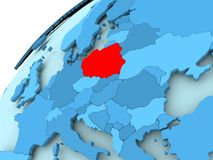 Poland on blue globe. Poland in red on blue model of political globe. 3D illustration Stock Photos