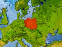 Map of Poland. Poland in red on realistic map with embossed countries. 3D illustration. Elements of this image furnished by NASA royalty free stock photography