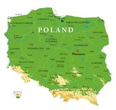 Poland relief map. Highly detailed physical map of the Poland, in vector format,with all the relief forms,regions and big cities vector illustration