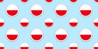 Poland, round flag seamless pattern. Polish, background. Vector circle icons. Geometric symbols. Texture for sports pages, competi. Poland, round flag seamless royalty free illustration
