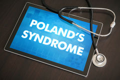 Poland's syndrome (cutaneous disease) diagnosis medical concept. On tablet screen with stethoscope Royalty Free Stock Images