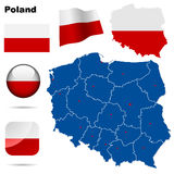Poland   set. Detailed country shape with region borders, flags and icons isolated on white background Stock Image