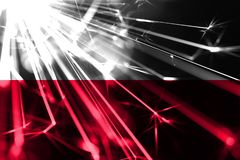 Poland shining fireworks sparkling flag. New Year 2019 and Christmas futuristic shiny party concept flag. Poland shining fireworks sparkling flag. New Year 2019 stock illustration