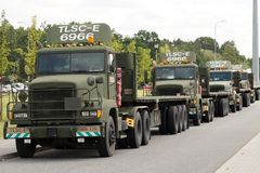 Poland. Sieganow, May 2018. A convoy of American military trucks in the parking lot of rest places of travelers stock photography