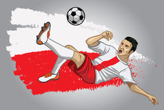 Poland soccer player with flag as a background Royalty Free Stock Photos