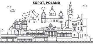 Poland, Sopot architecture line skyline illustration. Linear vector cityscape with famous landmarks, city sights, design vector illustration