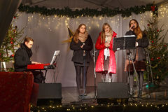 POLAND, SOPOT - DECEMBER 14, 2014: An unknown youth group performs catholic Christmas songs Stock Image