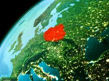 Poland from space in evening. Evening over Poland as seen from space on planet Earth. 3D illustration. Elements of this image furnished by NASA Royalty Free Stock Photography