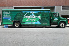 Poland Spring Truck. A Poland Spring truck in New York City. Poland Spring is a brand of bottled water manufactured by a subsidiary of Nestlé and sold in the Royalty Free Stock Images