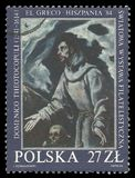 Ecstasy of St. Francis by El Greco. Poland - stamp 1984: Color edition on Art, shows Painting The Ecstasy of St. Francis by El Greco Stock Photography