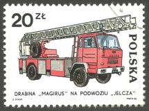 Magirus power ladder. Poland - stamp 1985, Memorable Issue Fire brigades , Series Fire Engines Classic And Contemporary, Jelcz engine, Magirus power ladder, 1970 Royalty Free Stock Images