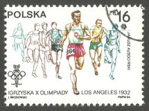 Olympics, Los Angeles. Poland - stamp 1984, Memorable multicolor issue of offset printing, Series 1984 Olympic Games in Los Angeles, J. Kusocinski winning 10 Stock Photography