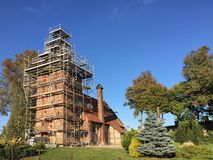 Village church under renovation, Poland royalty free stock images