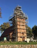 Village church under renovation, Poland stock photos