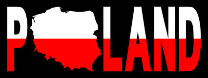 Poland text with map on flag Royalty Free Stock Photography
