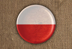 Poland Textured Round Flag wood on rough cloth. High Resolution Royalty Free Stock Photo