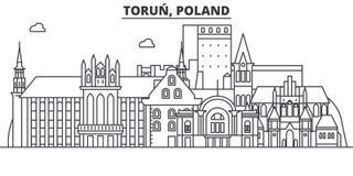 Poland, Torun architecture line skyline illustration. Linear vector cityscape with famous landmarks, city sights, design stock illustration