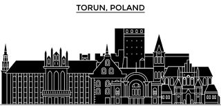 Poland, Torun architecture vector city skyline, travel cityscape with landmarks, buildings, isolated sights on stock illustration