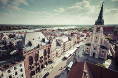 Poland - Torun, city divided by Vistula river between Pomerania. And Kuyavia regions. Old town skyline - aerial view from town hall tower. The medieval old town Royalty Free Stock Images
