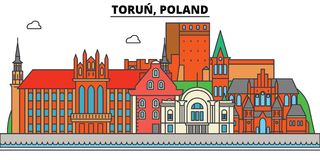Poland, Torun. City skyline, architecture, buildings, streets, silhouette, landscape, panorama, landmarks. Editable stock illustration
