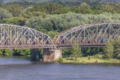 Poland - Torun famous truss bridge over Vistula river. Transport Stock Photos