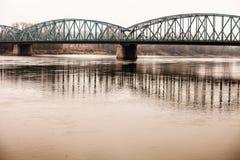 Poland - Torun famous truss bridge over Vistula river. Transportation infrastructure. Stock Photography