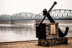 Poland - Torun famous truss bridge over Vistula river. Transportation infrastructure. Royalty Free Stock Images