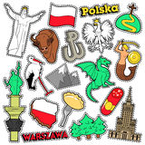Poland Travel Scrapbook Stickers, Patches, Badges for Prints with Syrenka, Eagle and Polish Elements Stock Photo