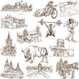 Poland. Traveling series: Poland - Collection of an hand drawn illustrations. Description: Full sized hand drawn illustrations isolated on white Stock Images