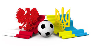 Poland ukraine flag football coat of arm. There are two coat of ars ukraine and poland flags and football ball Stock Images