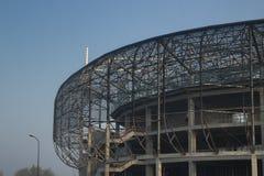 Poland, Upper Silesia, Zabrze, Stadium under Construction. Blue sky, morning light Royalty Free Stock Photo
