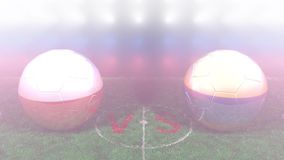 Poland vs Colombia, 2018 FIFA World Cup. Original 3D video. June 24, Poland versus Colombia 2018 FIFA World Cup. Original 3D video. Two balloons above a soccer stock footage