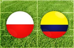 Poland vs Colombia football match Stock Image