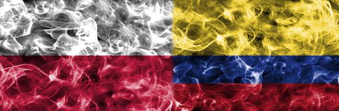 Poland vs Colombia smoke flag, group H, Fifa football world cup. 2018, Moscow, Russia Royalty Free Stock Image