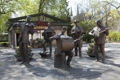 Poland, Warsaw, Monument of Praga`s Backyard Orchestra in Praga District Stock Photos