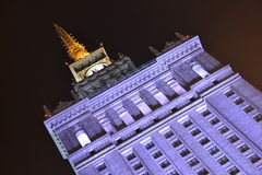 Poland, Warsaw, Palace of culture and science by night Royalty Free Stock Image