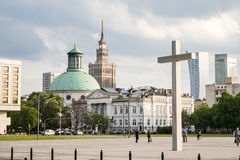 Poland warsaw Pilsudski place white cross skyline culture palace tower. Poland warsaw the Pilsudski place white cross skyline culture palace tower stock image