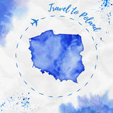 Poland watercolor map in blue colors. Travel to Poland poster with airplane trace and handpainted watercolor Poland map on crumpled paper. Vector illustration Royalty Free Stock Photography