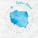Poland watercolor map in turquoise colors. Explore Poland poster with airplane trace and handpainted watercolor Poland map on crumpled paper. Vector Stock Image