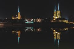 Ostrow Tumski by Night, Wroclaw, Poland royalty free stock images