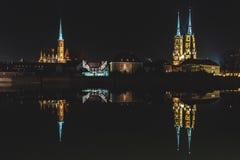"Ostrow Tumski by Night, Wroclaw, Poland. Night view of ""Ostrów Tumski"" - historical city part of Wrocław Royalty Free Stock Images"