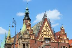 Poland - Wroclaw. Wroclaw, Poland - city architecture at Market Square Rynek. Old Town Hall Royalty Free Stock Images