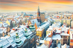 Poland. Wroclaw. City view. Panorama of the winter Wroclaw from the bell tower Royalty Free Stock Photography