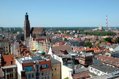 Poland, Wroclaw cityscape. Poland, Wroclaw - beautiful cityscape with blue sky, general city view from Maria Magdalena's Church tower Stock Images